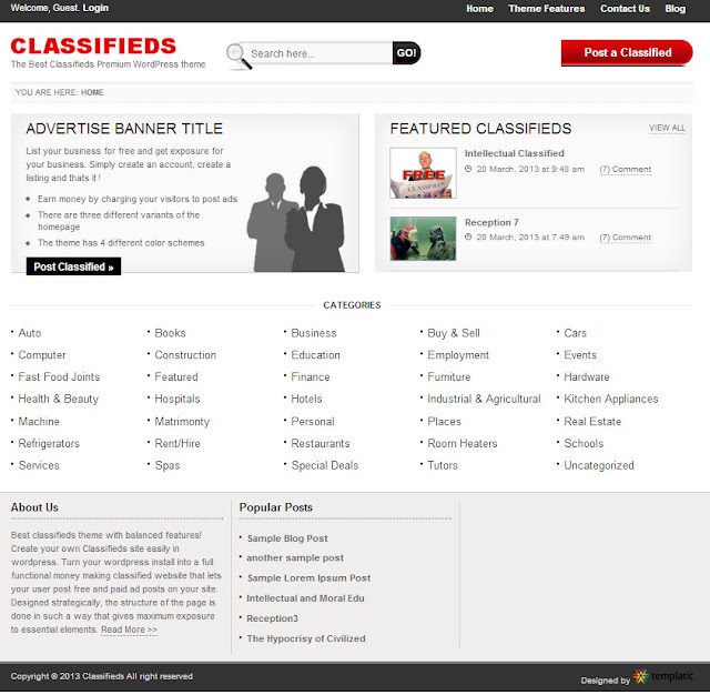 Classifieds Templatic WordPress Theme | Templatic WordPress Premium ...