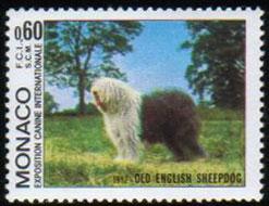 1982年モナコ公国 オールド・イングリッシュ・シープドッグの切手