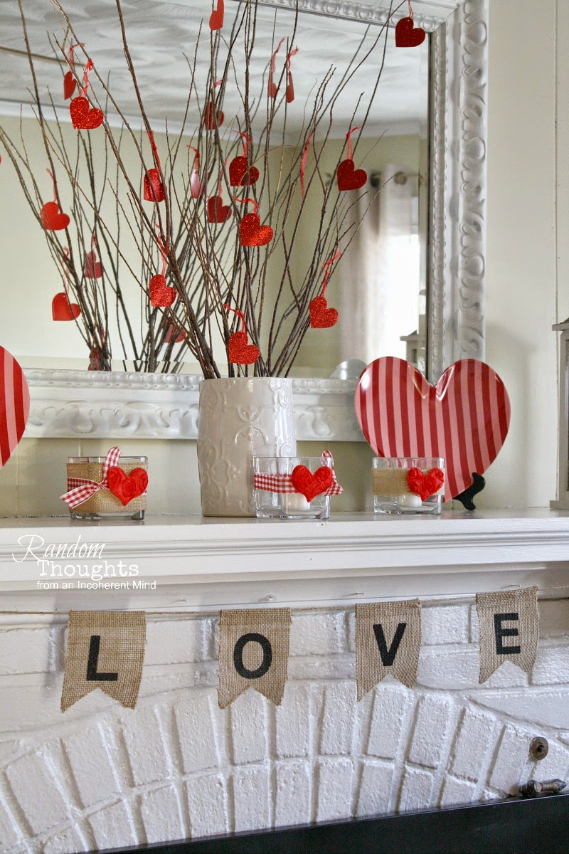 Random Thoughts Home: Valentine's Day Mantel 2015