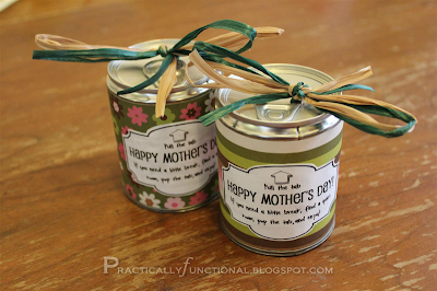 Pop tab tin cans filled with candy for Mother's Day