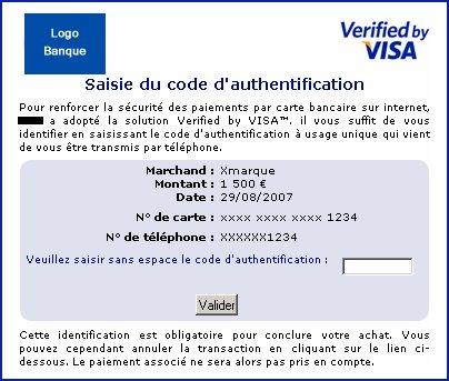 Ecran Visa 3-D Secure