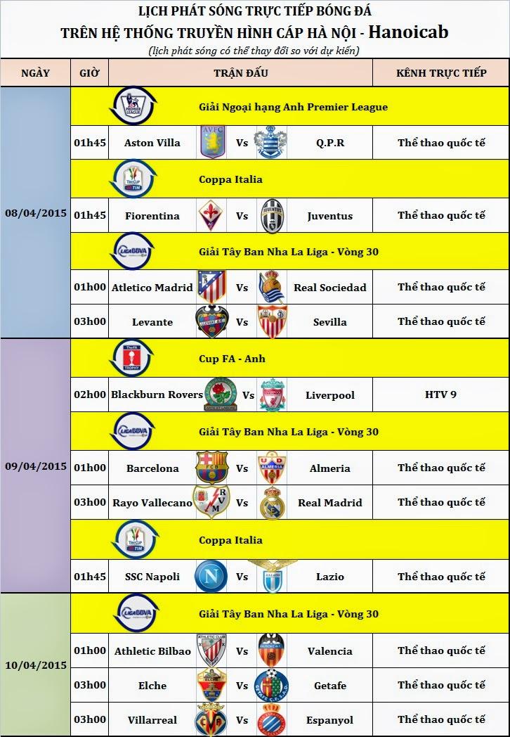 Lịch bóng đá