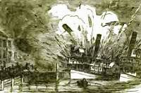 steam boat exploding at the dock