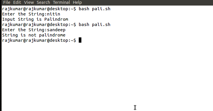 Shell Script To Check Whether A Given String Is Palindrome Or Not