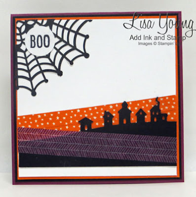 Stampin' Up! Halloween card. Sleigh Ride edgeless, Happy Hauntings Washi Tape, Handmade card by Lisa Young, Add Ink and Stamp