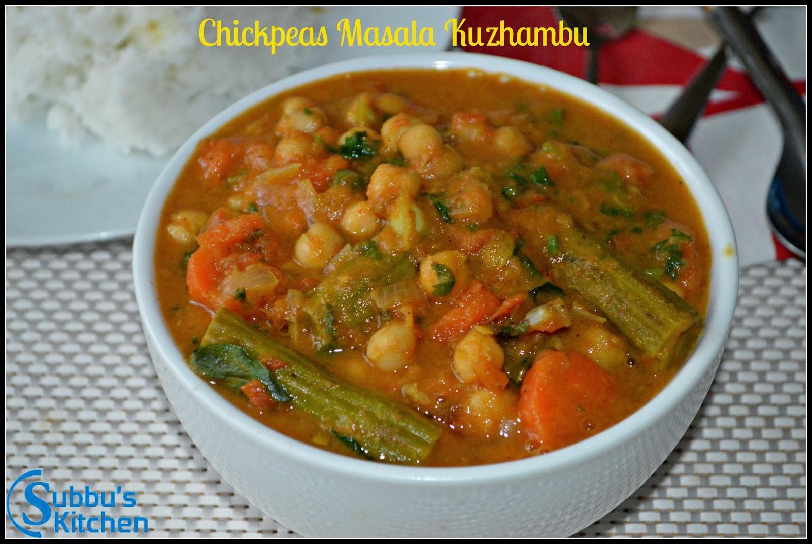 Channa (Chickpeas) Masala Kuzhambu