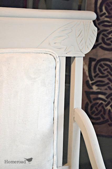 Chalk Paint on a Fabric Chair www.homeroad.net
