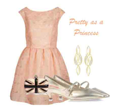 Peach Dress, shoes, bag and earings