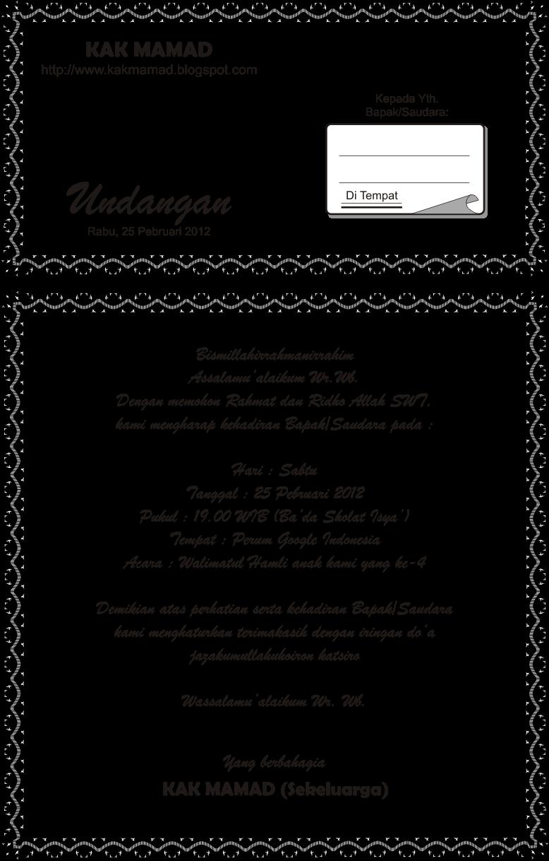 contoh undanganya undangan walimatul khamli yang akan kakak berikan ...