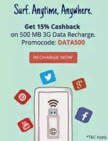 Paytm Get 15% Cashback on 500 MB 3G Data Recharge