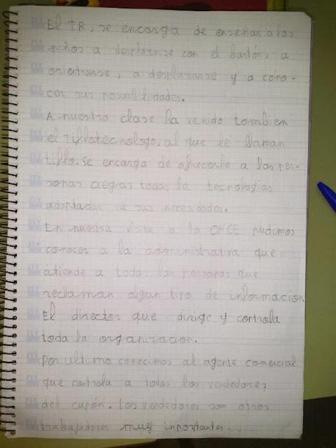 la imagen muestra una hoja de libreta con una redacción en tinta.
