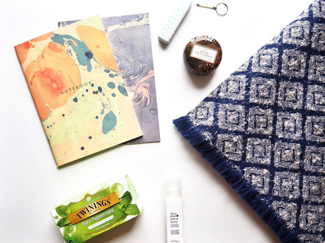 non beauty favourites. stationary, scarf, tea, candle, portable charger, twinings, zara, katie leamon, voluspa