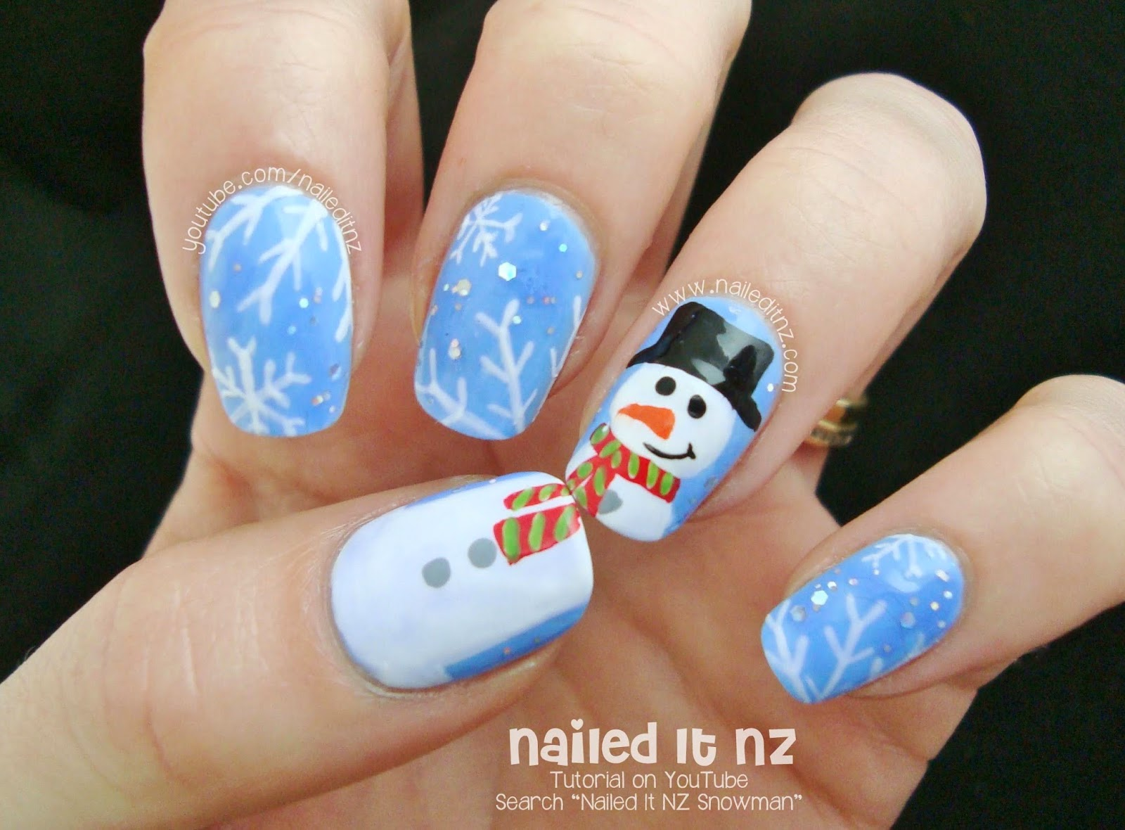 Snowman And Snowflake Nails