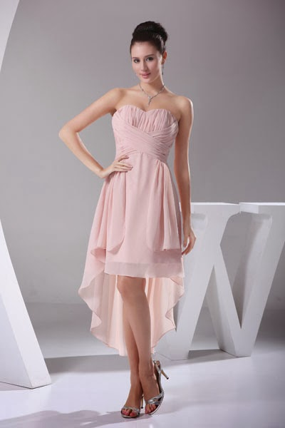 Light pink strapless bridesmaid dress