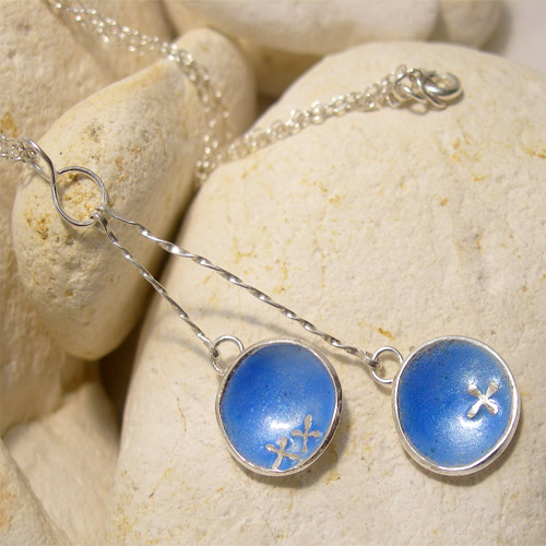 Hugs & Kisses Double Pendulum Pendant Necklace in Baby Blue Enamelled Silver