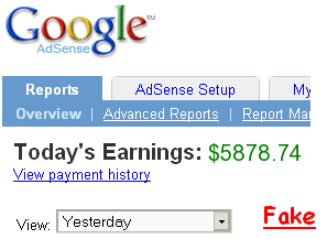Google AdSense Earnings - Fake Screen Shot