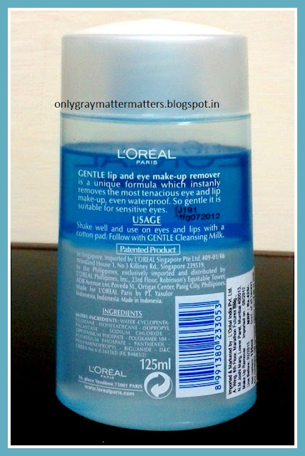 L'Oreal Paris Dermo Expertise Gentle Lip and Eye Makeup Remover Review