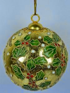 Golden Cloisonne Enamel Ball Home Ornament,Green & Red Floral Pattern