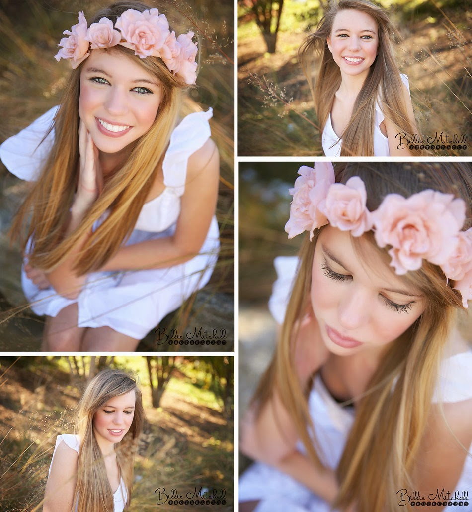 teen girl at the north carolina arboretum  in a white sundress and pink flower crown