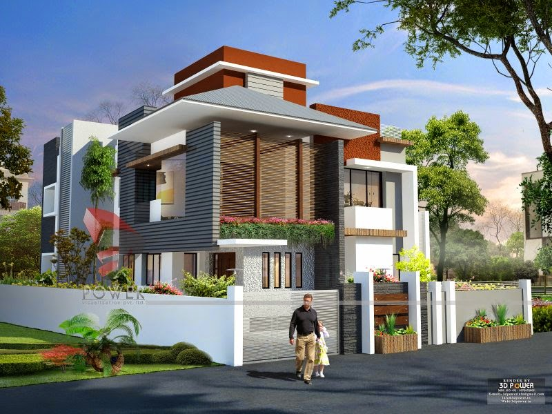 Ultra modern home designs home designs house 3d for House exterior design pictures in indian