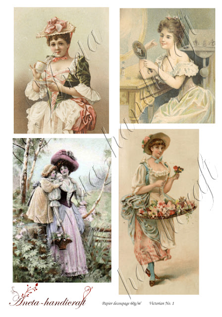 Aneta-handicraft decoupage papers- Victorian collection