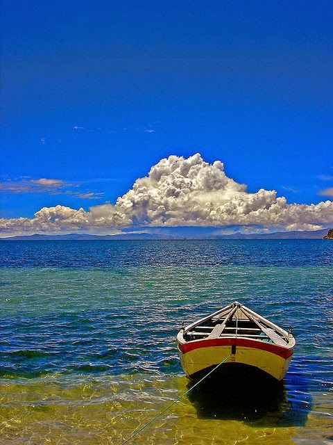Lake Titicaca, between Peru and Bolivia, 3800 meters -12500 feet above sea level