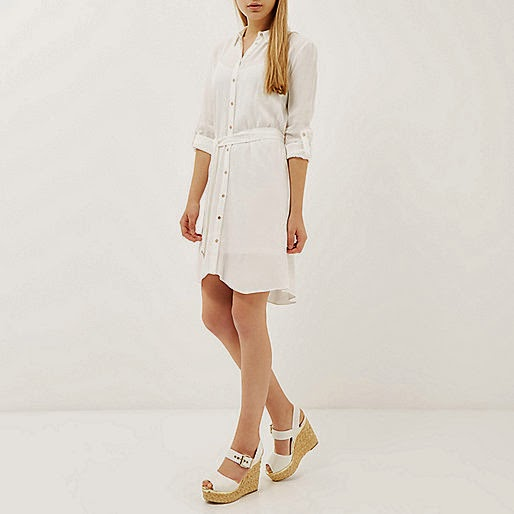 river island white shirt dress
