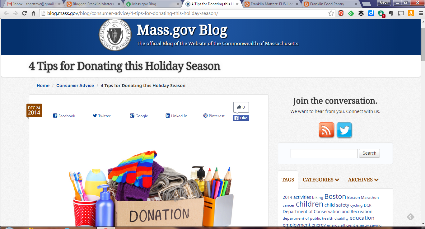 screen grab of MA Gov article on charitable donations