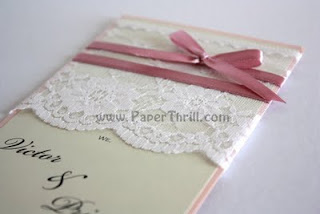 Lace floral handmade wedding invitation card