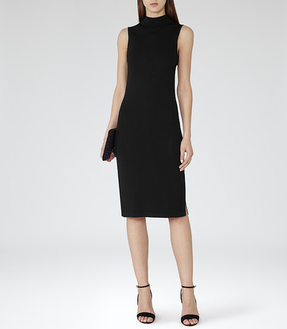 black high neck midi dress, reiss black midi dress,