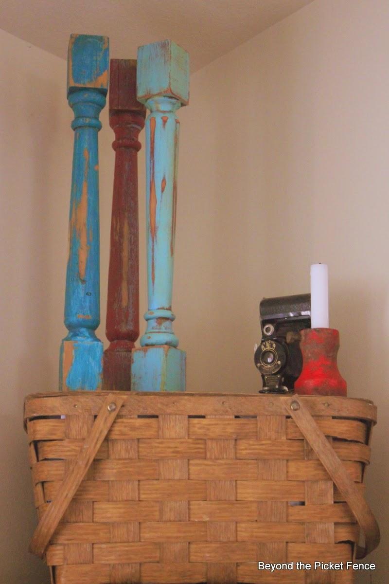 picnic basket, summer mantel, spindle, red, white, blue, http://bec4-beyondthepicketfence.blogspot.com/2014/06/summer-mantel-old-faded-book-page-flag.html