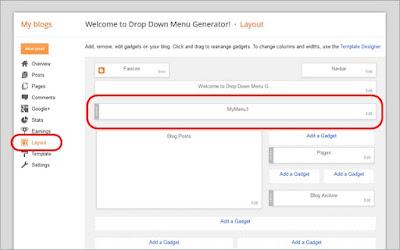 cara menambahkan drop down menu di blogger