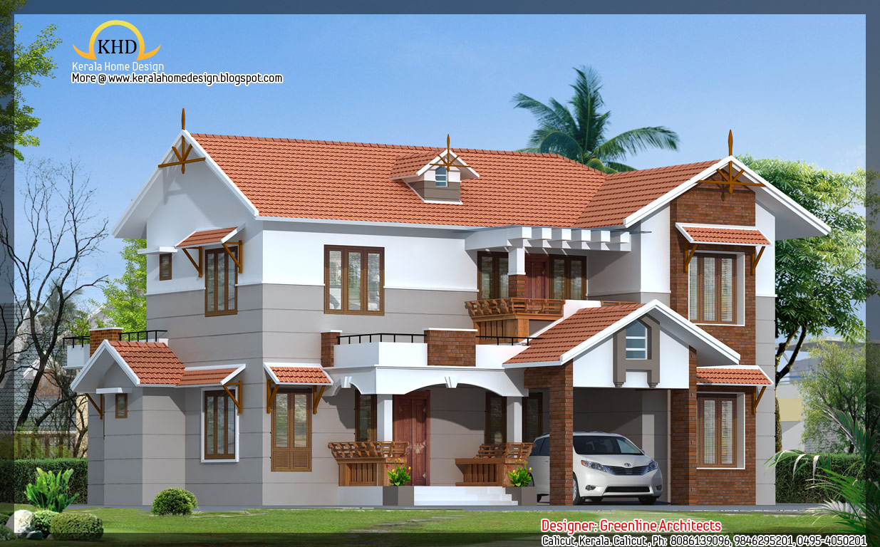 Villa elevation 2151 sq ft kerala home design and for Beautiful villas pics