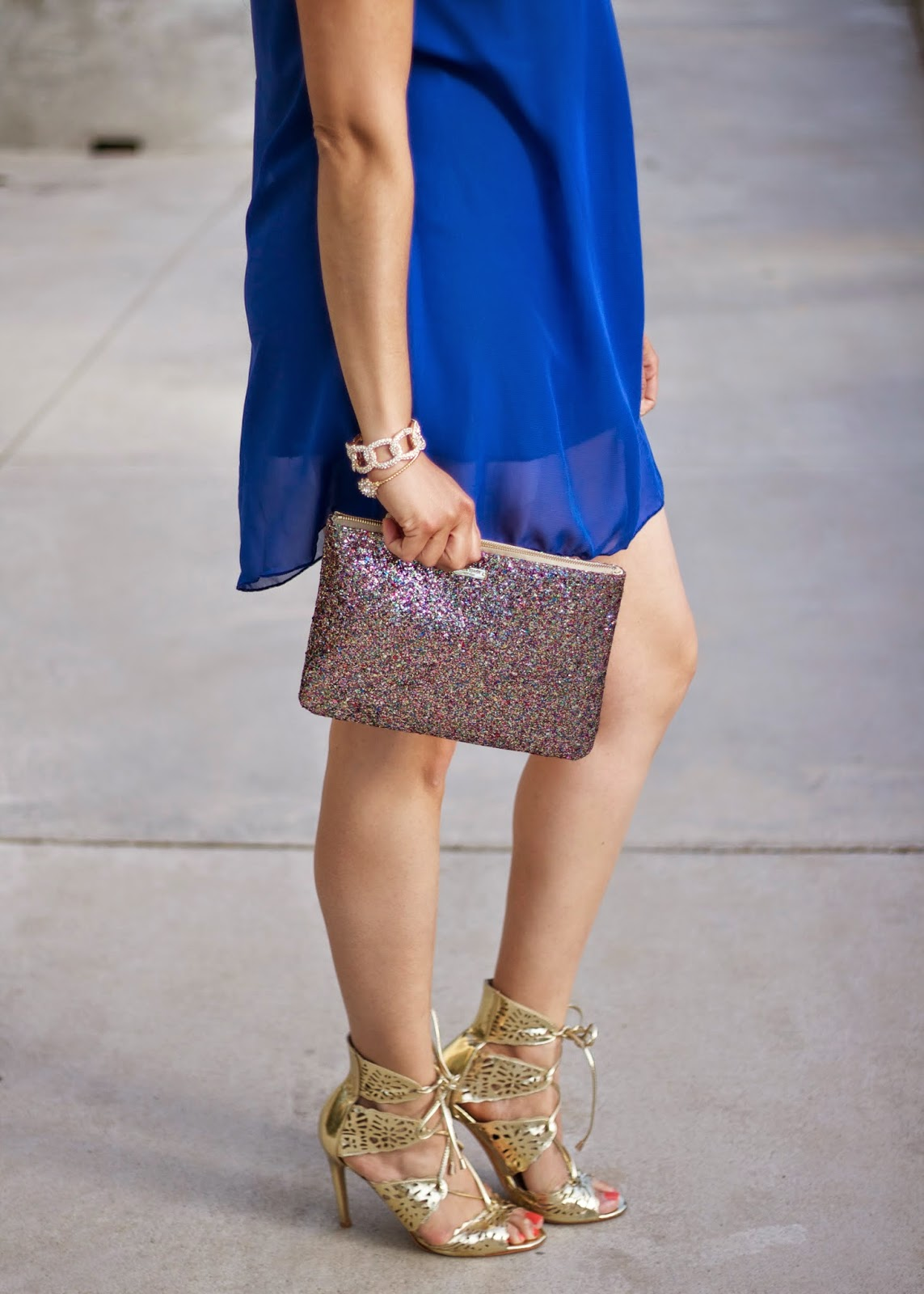 Kate spade glitter clutch, gold strappy heels from Shoe Dazzle, Shoe Dazzle blogger, Kate Spade blogger, Kate spade clutch
