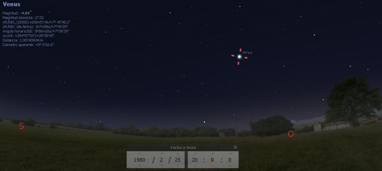 ubicación del planeta Venus el 25 febrero 1980