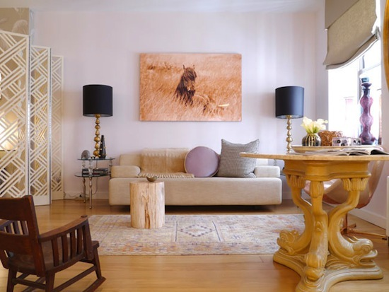 wild horse print, symmetrical black and gold lamps