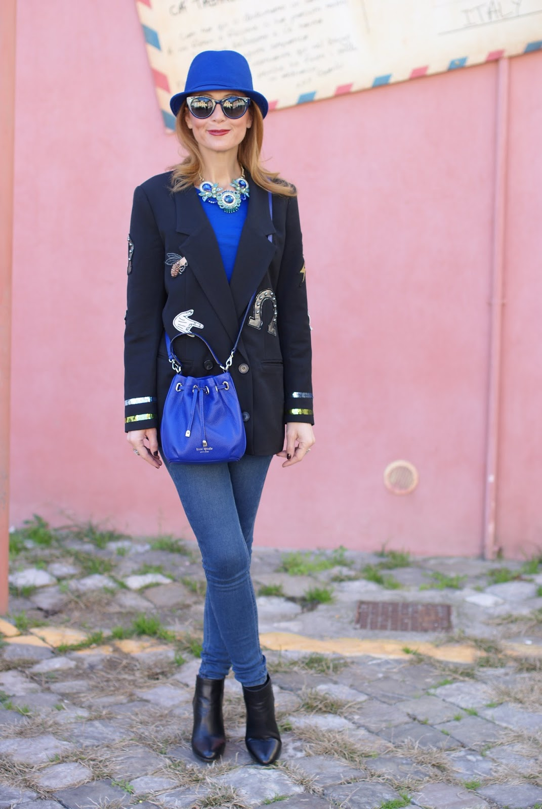 Vogos blazer with lucky symbols and Lorenzo Mari shoes on Fashion and Cookies fashion blog, fashion blogger style