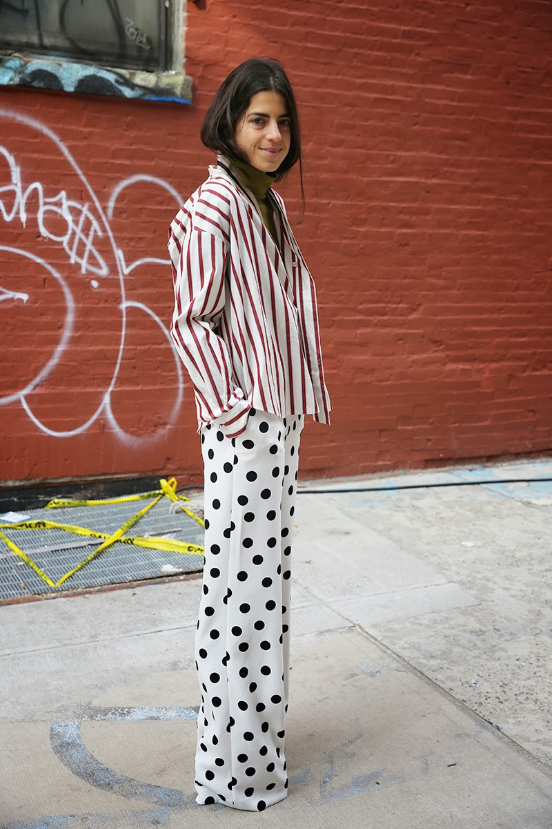 Striped jacket, polka dot pants, Leandra Mendine, Man Repeller