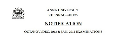 Anna University Exam Time Table Nov-December 2013-14