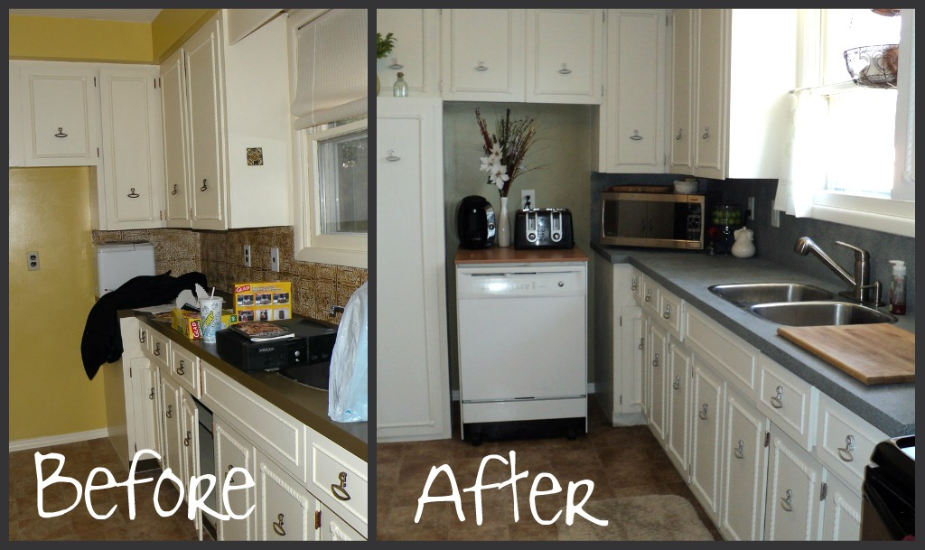 Painting laminate countertops in the kitchen for Before and after pictures of painted laminate kitchen cabinets