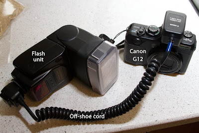 Flash Unit, Canon G12 and Off-shoe core.