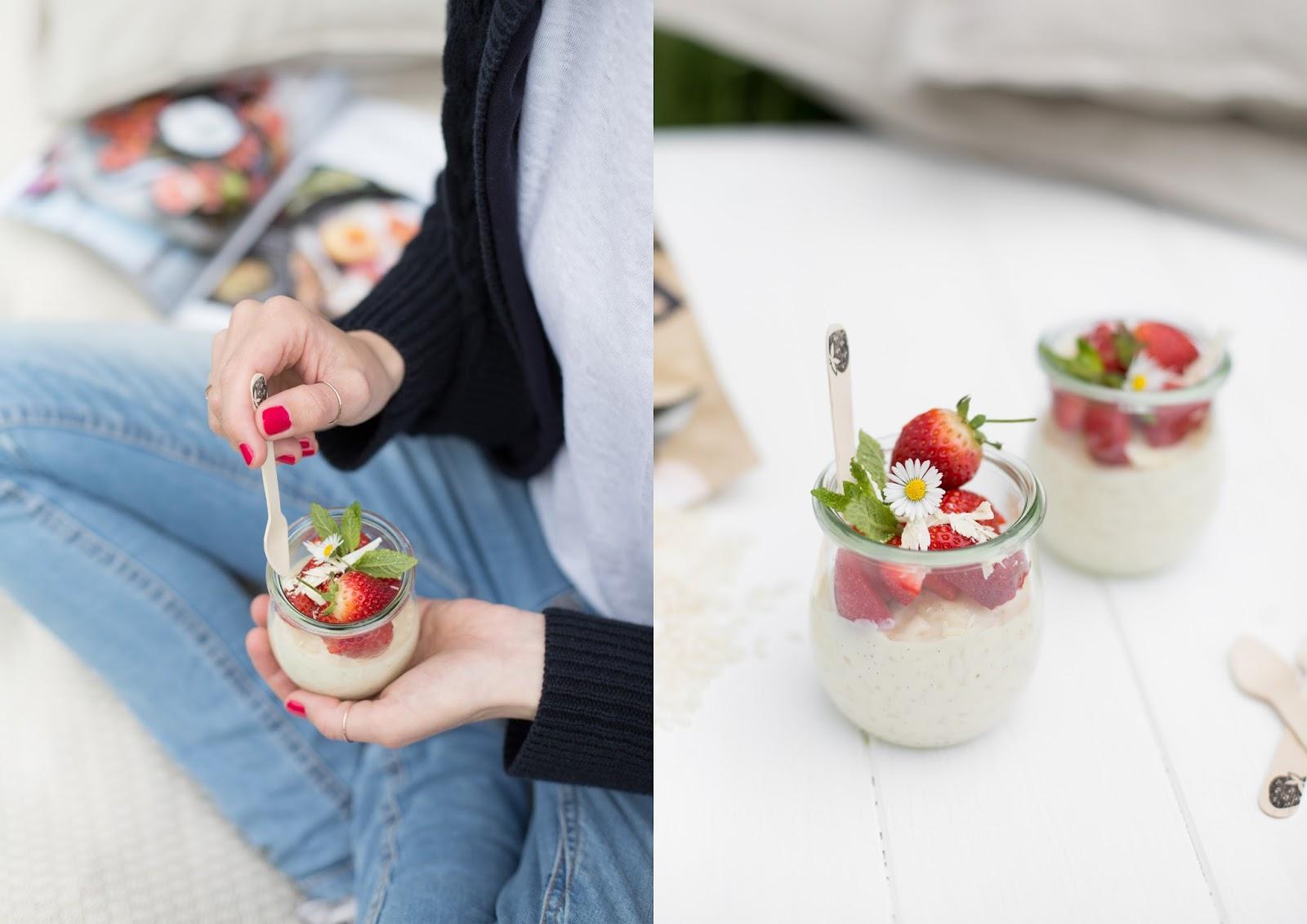 Weißer Schokoladenmilchreis mit Erdbeeren Reishunger #vegweeks