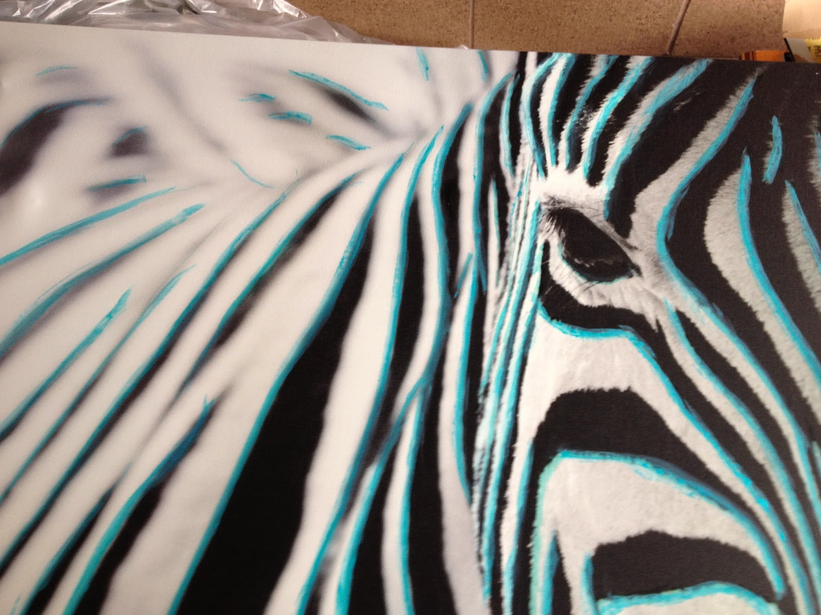 refinish refurnish ikea pj tteryd zebra canvas gets teal highlights. Black Bedroom Furniture Sets. Home Design Ideas