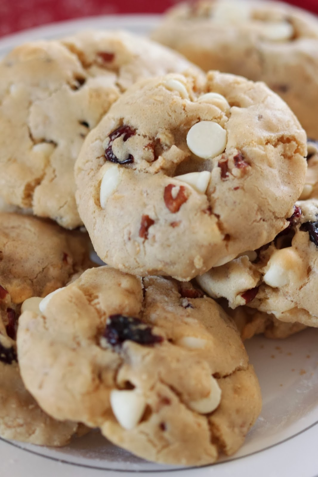 Olive Oil Cookies with White Chocolate Cranberries and Pecans