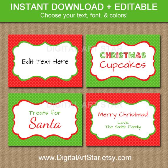 Editable Christmas Printable Name Tags