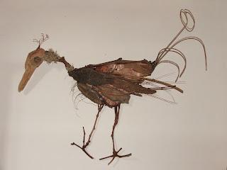 création d'une sculpture avec matériaux naturels récupérés gallinacé tout l'univers créatif de mimi vermicelle
