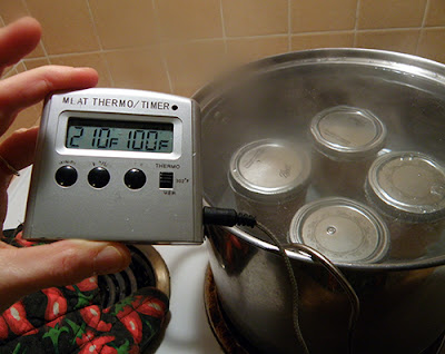 Processing Jam with Digital Thermometer at 210 degrees