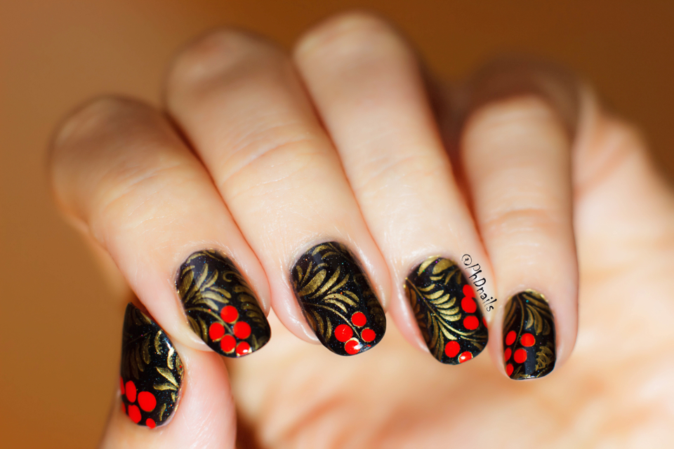 Phd Nails November Macro Challenge Khokhloma Nail Art With
