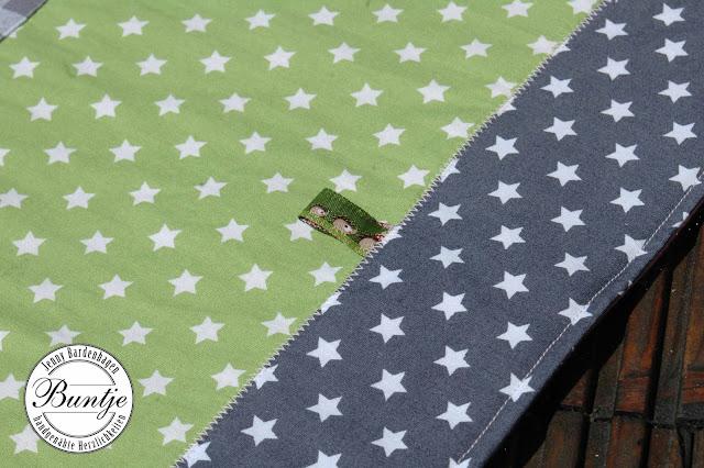 Babydecke Kuscheldecke Name Krabbeldecke Decke Baby Mädchen Lara Baumwolle Fleece Patchwork nähen grau grün rosa Raben Webband handmade Name Individualisierbar individuell