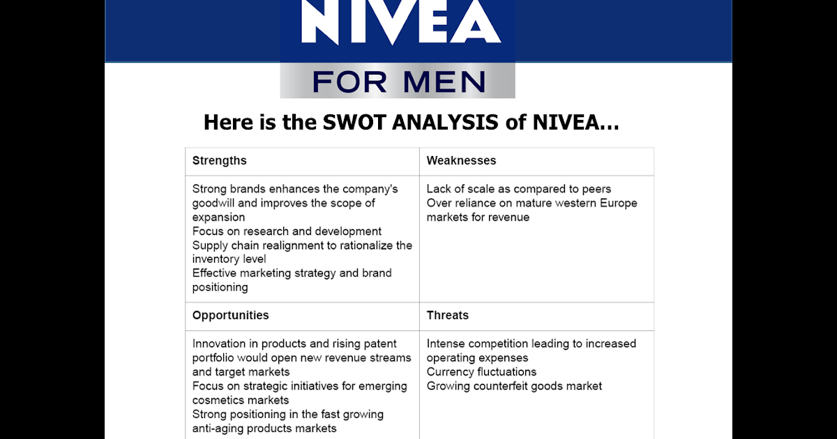 swot analysis of nivea Definition of swot analysis swot is the acronym for strength, weaknesses, opportunities and threats swot analysis helps individuals and business to evaluate themselves in four areas that is strength, weaknesses, opportunities and threats.